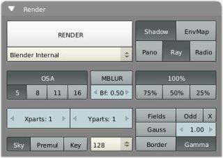 The default options in Render Tab.