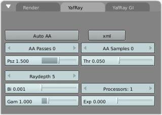 Image22. The Yafray tab.