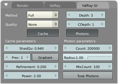Image21. The Yafray GI tab. Options for the full method are visible.