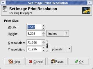 Gimp's Image print size dialog box