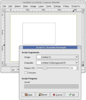 The Gimp's rounded rectangle tool