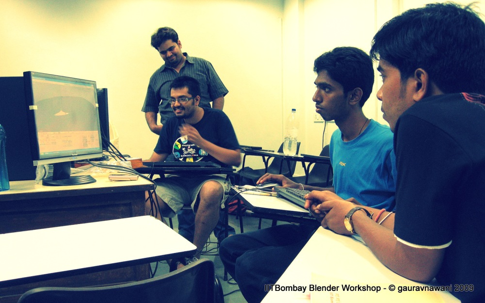 Class learning Blender at IITBombay