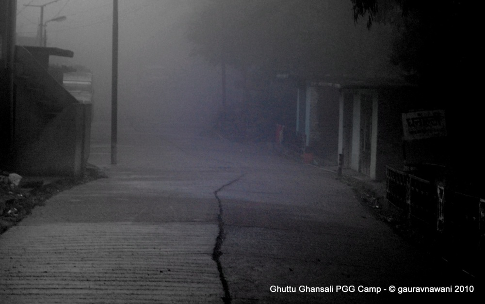 Reaching Dhanaulti in the fog
